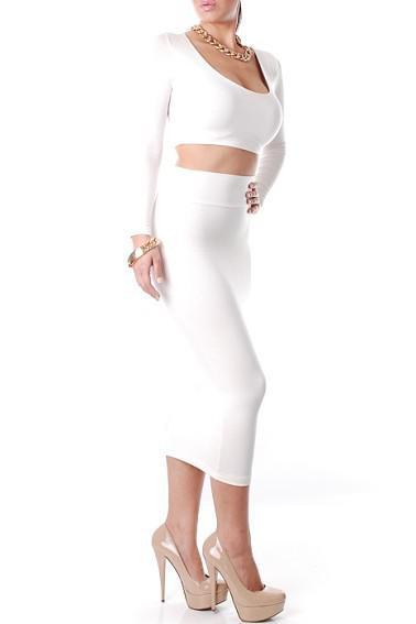 Yeni Kadınlar Seksi Elbiseler Kulübü Parti Elbise Yüksek Waisted Kesilmiş Kıyafet İki Adet Bodycon Elbise Bayanlar Için Bandaj Etek Uzun Kollu YQ4