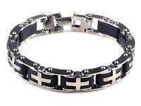 Wholesale Rubber Cross Bracelets - Brand New Women's Black Rubber Silver Cross Link Stainless Steel Punk Bracelet Wristband Free Shipping[B358A]