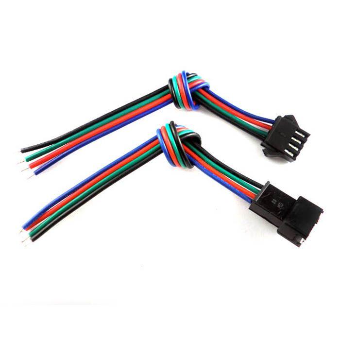 30 juegos de 4 pines con conector para 3528/5050 RGB Led Tira macho y hembra