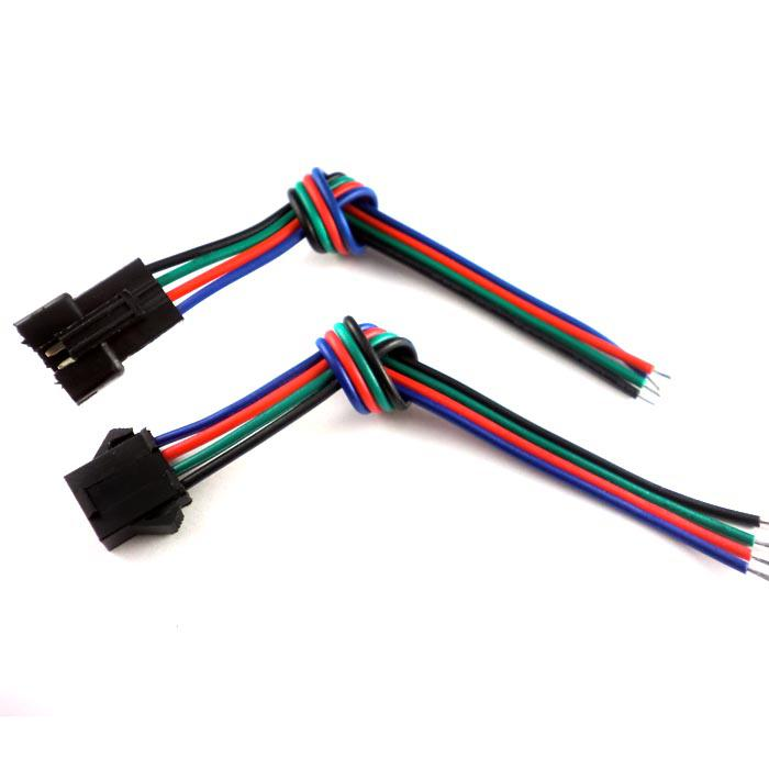 JST 4 핀 남성 여성 RGB 커넥터 와이어 케이블 3528 5050 SMD LED 스트립 빛