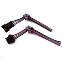 pin männlichen weiblichen led-draht-anschluss großhandel-30-Satz-Stecker 4-polig mit Draht für RGB-LED-Streifen mit Stecker und Buchse 3528/5050