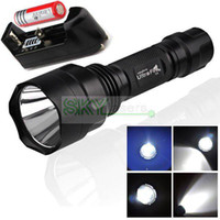 Wholesale Ultrafire Flashlights C8 - HOT supply UltraFire C8 Cree XM-L T6 LED 1300LM 5-Mode Flashlight Torch light + 3000mah 18650 Rechargeable battery+Charger Free Shipping