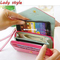 Wholesale Multi Propose Envelope - Women's Multi Propose envelope Wallet Purse for Galaxy S2 S3 iphone 4 4S 5 Case,more colors-free Shipping