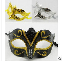 Wholesale Black Venetian Masks Mens - Wholesale - 2017 New Lowest Free Shipping Mens jazz Mask Halloween Masquerade Masks Venetian Dance party Mask