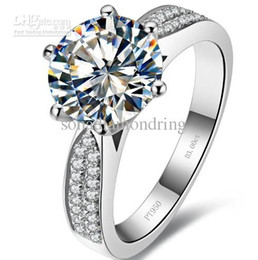 Wholesale Gold Diamond Bands - Wholesale - 3 ct synthetic diamond rings sterling silver wedding bands for women engagement rings for women white gold 18k drop shipping