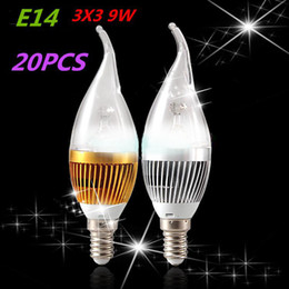 Wholesale E14 Dimmable Led Candle 12w - 2014 ultra bright X20 E14 base fitting Dimmable 3x3w (9w) 4x3w (12w) AC85-265V warm   cold white  white LED candle light lamp + CE ROHS