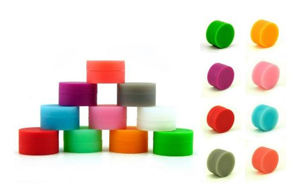 Nicht feste Farbe Reines Farbwachs Trockene Kräutergläser Tupfen Runde Form Silikonbehälter für Trockene Kräuterzerstäuber AGO G5 Wachs Verdampfer E Zigarette