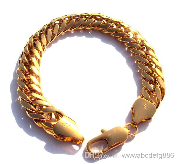 Gool Men s 9 24k solid yellow gold real watch bangle bracelet jewelry 230mm  100% real gold, not solid not money
