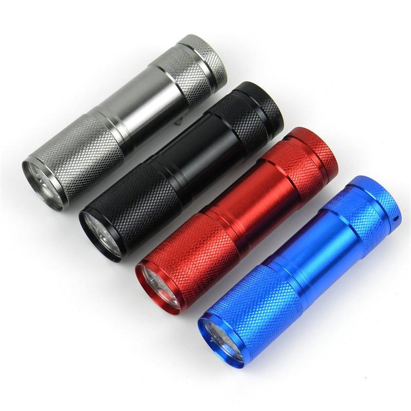 9 Mini antorcha LED es Mini linterna LED 300LM LED Linterna de camping Antorcha Linternas a prueba de agua Lámpara 3AA Antorchas con batería