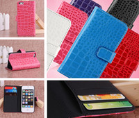 Wholesale Iphone 5c Crocodile - Crocodile Pattern PU Flip Leather Cover Case Wallet Credit ID Card Slot Handbag With Stand Holder for iPhone 4 4S 5 5S 5C iPhone4 iPhone5