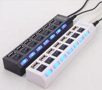 hub usb para tablet pc venda por atacado-USB 2.0 HUB Power Strip 7 Portas Soquete CONDUZIU a Luz UP Concentrador com Interruptor AC Adaptador para Mouse teclado Carregador PC Desktop Laptop Tablet