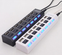 Wholesale Hub Mouse - USB 2.0 HUB Power Strip 7 Ports Socket LED Light UP Concentrator with Switch AC Adapter for Mouse keyboard Charger PC Desktop Laptop Tablet