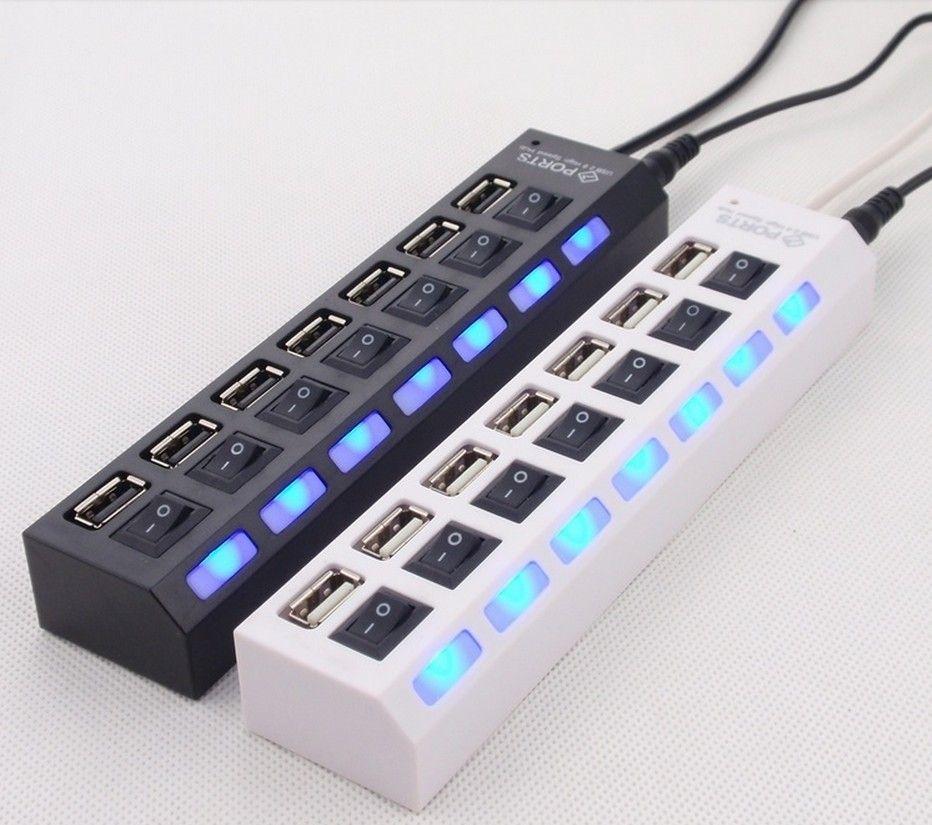 USB 2.0 HUB Power Strip 7 портов разъем LED загораются концентратор с переключателем адаптер переменного тока для мыши клавиатура зарядное устройство ПК настольный ноутбук планшет