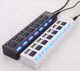Wholesale Usb Switches - USB 2.0 HUB Power Strip 7 Ports Socket LED Light UP Concentrator with Switch AC Adapter for Mouse keyboard Charger PC Desktop Laptop Tablet