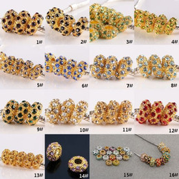 Wholesale Crystal Gemstone Loose Beads - 300pcs Big Hole Crystal Rhinestone Gold Tone Gemstone Charm European Loose Beads Fit Bracelet Chain Jewelry Findings