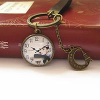 cadenas de camafeos al por mayor-Novedad Audrey Hepburn Llavero Cameo Reloj Llavero Cuero Vintage Llavero Joyería Hecha A Mano k001