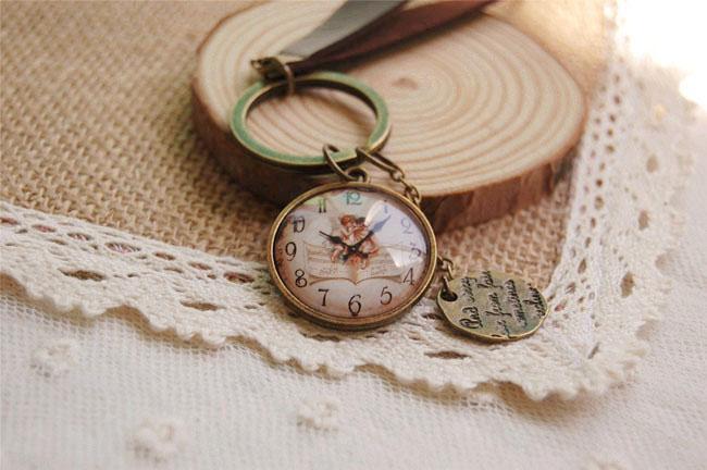 Vintage Baum des Lebens / Engel Schlüsselanhänger Glas Cameo Uhr Schlüsselanhänger Leder Schlüsselanhänger handgefertigte Schmuck K002
