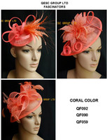 Wholesale coral wedding hats - New Coral Sinamay Fascinator Hat for Kentucky derby,wedding,church and party.FREE SHIPPING.MIX STYLES
