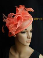 sombrero derby naranja al por mayor-Coral naranja rosa diadema Sinamay pluma fascinator sombrero para boda, fiesta, kentucky derby, Ascot Races, prom