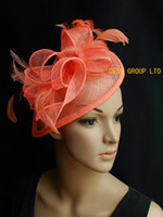 Wholesale Coral Wedding Hats - Coral orange pink headband Sinamay feather fascinator hat for wedding,party,kentucky derby,Ascot Races,prom