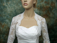 Wholesale Three Quarter Sleeve Lace Bolero - Lace Bridal Bolero Jacket with Three Quarter Long Sleeve Vintage Sheer Ivory Tulle Wedding accessories Bridal Jackets