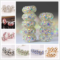 Wholesale wholesale loose crystals - 100pcs 11 x5mm Metal Silver Plated Mixed Crystal Rhinestone Big Hole Bead Charm European Loose Beads Fit Bracelet Chain Jewelry Findings