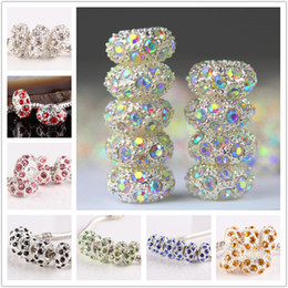 Wholesale Big Crystal Beads - 100pcs 11 x5mm Metal Silver Plated Mixed Crystal Rhinestone Big Hole Bead Charm European Loose Beads Fit Bracelet Chain Jewelry Findings