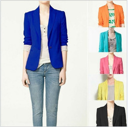 Wholesale Cotton Candy Free Shipping - Hot New 2017 Za new hot stylish and comfortable women's Blazers Candy color lined with striped Z suit free shipping with tracking number