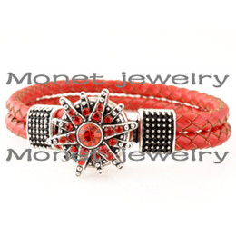 Wholesale Drop Ship Music - A19474 hot sale red round noosa chunk bracelet,noosa diy bracelet,but one,get one rhinestone chunk free drop shipping