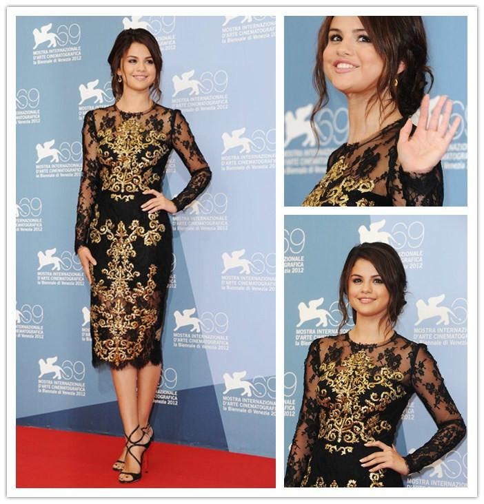 Selena Gomez Black Lace Dress Sheer High Neck Gold Embroidered Long ...