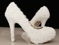 Free Shipping Elegant White Lace Beading Wedding Shoes 4 Inc...
