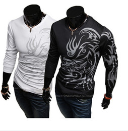 Wholesale Tattoo Sleeve T Shirts Men - European and American style dragon totem tattoo long sleeve 2014 Brand t shirt for Men T-Shirts Mens Casual Long Sleeves O-neck T-Shirts