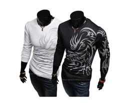 Chemises marques chine en Ligne-Européen et Américain de style Dragon totem de tatouage manches Longues de Marque polo T-Shirts en coton pour hommes T-shirt dragon de la Chine T-shirt de Sport
