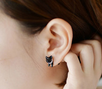Wholesale Korean Black Pearl Earrings - New Korean Desgin Cute Animal Pearl Cat Ear Stud Earrings With Pearl Black White Color HM4