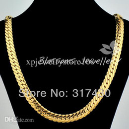 "Wholesale Mens Figaro - Wholesale - & retails Massive 18k Yellow Gold Filled Filled Necklace 24"" 10mm 85g Herringbone Chain Mens Necklace GF Jewelry"
