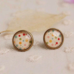Wholesale Earring Cameo - 12mm Vintage Colorful Dot Stud Earrings for Girls Bronzed Cameo Earrings Christmas Jewelry rd07