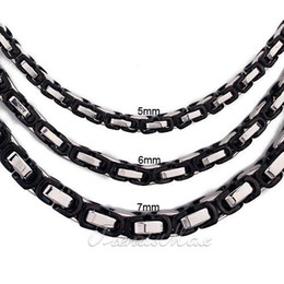 Wholesale Byzantine Steel Chain - Wholesale - 5 6 7mm Byzantine Stainless Steel Chain Necklace Black Fashion Jewelry MENS chain KNW46 ( 20-36inch)