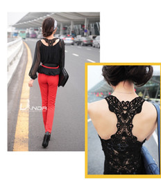 Wholesale Red Lace Camisole - 2016 Brand New Korea Women's Tank Top Shirt Hollow-out Vest Waistcoat Camisole Pierced lace