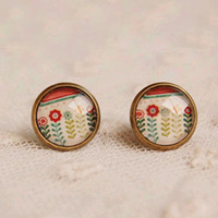 Wholesale Vintage Enamel Brass - Fashion Enamel Flowers Stud Earrings for Girls Vintage Jewelry 12mm rd16