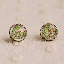 Wholesale Christmas Tree Unique - Cool Summer Green Tree Stud Earrings Vintage Unique Earrings 12mm rd23