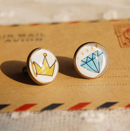 Wholesale Blue Diamond Stud Earrings - New 2014 Mismatch Crown and Blue Diamond Earrings Stud Bronzed Earrings Personalized Hip Hop Jewelry 12mm rd28