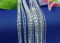 Venda por atacado 10pcs / lot Columnar Join Ball 925 Sterling Silver Necklace Cadeias Lobster Clasper 16
