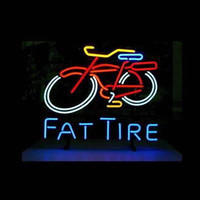 Wholesale Lighted Tire Signs - REAL GLASS FAT TIRE LOGO NEON BEER BAR PUB GAMEROOM LIGHT SIGN