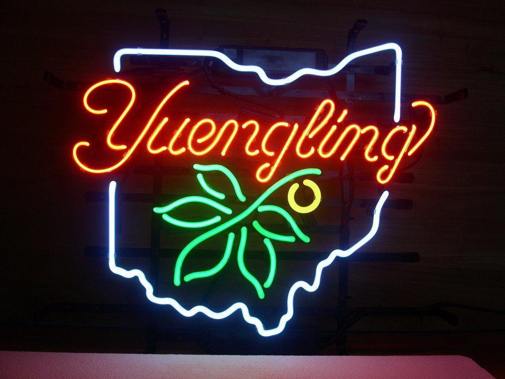 NEW YUENGLING OHIO STATE BUCKEYE REAL GLASS NEON LIGHT