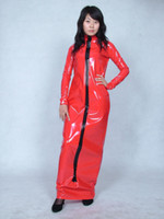 Wholesale Metallic Costume Dress - PVC lycra spandex zentai suit costume metallic red long dresS--XXL