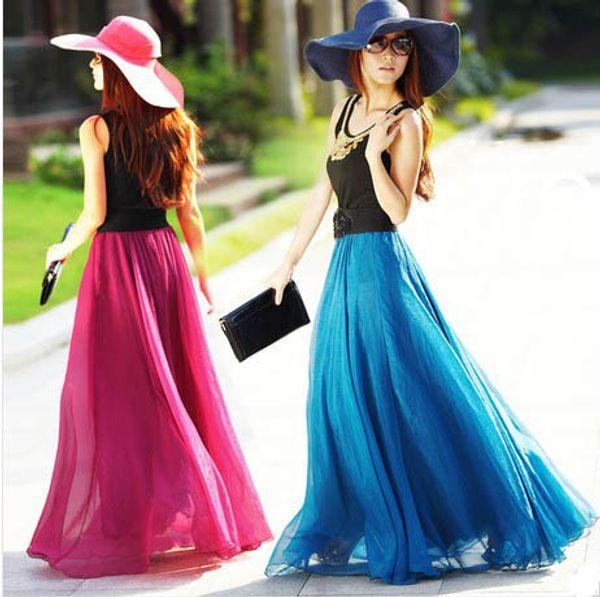 top popular Many Color Fashion Skirts 2018 Women Summer Chiffon Skirts Beach Party Dress Sexy Ladies Dress Maxi Skirt Girl Stretch Waist Band Long Skirt 2021