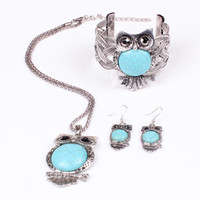 Wholesale Turquoise Chunky Bracelet - Free shipping Turquoise Vintage Jewelry set Owl Pendants chunky necklace Bangle earring set Choker Necklaces