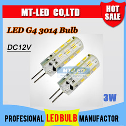 Wholesale Smd Power Led 3w - Retail Free shipping High Power SMD 3014 3W 12V G4 LED Lamp Replace 30W halogen lamp 360 Beam Angle LED Bulb lamp lighting warranty 2 years