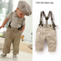Wholesale Kids Overalls Pants - Hot Sale New Boys Baby Clothes Toddler Set Gentleman Overalls 3pcs Outfit Top Bib Pants Boy striped suit kids Children's Clothing