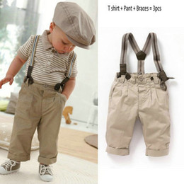 Wholesale Boys Bib Overalls - Hot Sale New Boys Baby Clothes Toddler Set Gentleman Overalls 3pcs Outfit Top Bib Pants Boy striped suit kids Children's Clothing